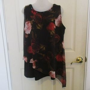 Lane Bryant black layered floral top 14/16